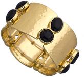 Blu Bijoux Gold and Black Cabochon Wide Cuff Bracelet