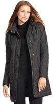 Lauren Ralph Lauren Women's Faux Leather Trim Quilted Coat