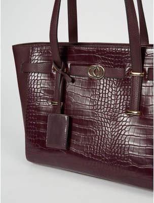 George Burgundy Mock Croc Tote Bag