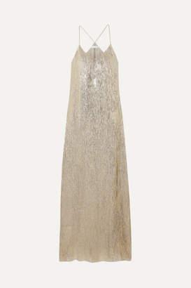 Marie France Van Damme - Metallic Silk And Lurex-blend Maxi Dress - Silver