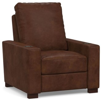 Pottery Barn Turner Square Arm Leather Media Single Chair