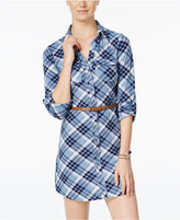 Ultra Flirt Juniors' Plaid Belted Shirtdress