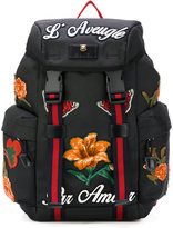 Gucci tech backpack with lotus embroidery