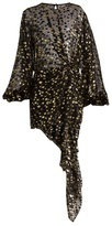 Saint Laurent Draped-front dot fil coupé mini dress