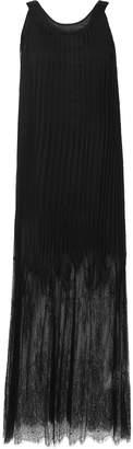 McQ Lace-paneled Pleated Chiffon Maxi Dress