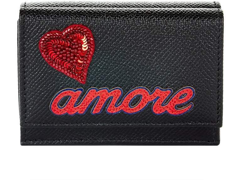 Dolce & Gabbana Amore Embellished French Flap Wallet