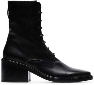 Ann Demeulemeester black lace-up leather ankle boots