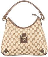 Gucci Brown Leather GG Monogram Canvas DRing Hobo Bag