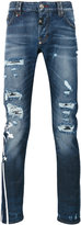 Philipp Plein distressed straight-leg jeans - men - Cotton/Polyester/Spandex/Elastane - 30