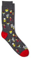 Merona Men's Novelty Crew Socks Fun Drinks Charcoal Heather 10-13