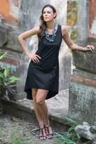 Fair Trade Black Woven Cotton Sleeveless Sundress, 'Cempaka in Black'