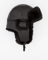 Le Château Faux Leather Trapper Hat with Faux Fur Trim