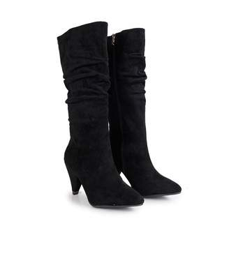 Xti Suedette Slouchy Calf Boots Colour: BLACK, Size: UK 3