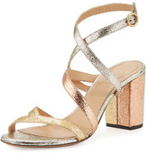 Chloé Metallic Crisscross 70mm Sandal, Gold Mix
