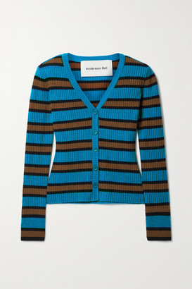 ANDERSSON BELL Ribbed Striped Wool-blend Cardigan - Turquoise