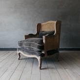 Graham and Green Caden Cane Armchair Grey Velvet