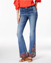 INC International Concepts Embroidered Indigo Wash Flare-Leg Jeans, Only at Macy's