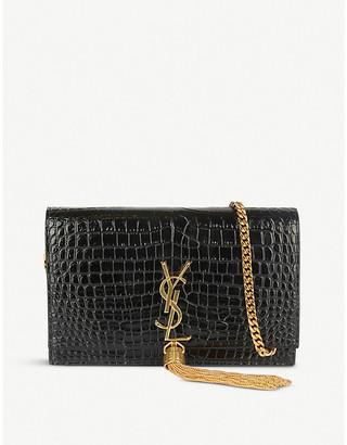 Saint Laurent Kate monogram crocodile-embossed leather shoulder bag