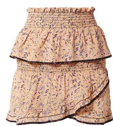 IRO Jully Ruffled Printed Silk Crepe De Chine Mini Skirt - Blush