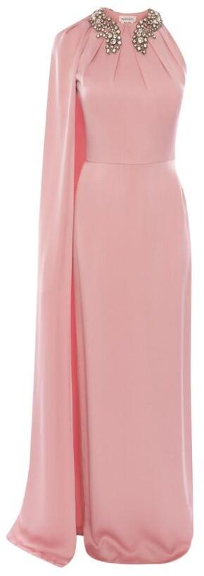 Alexander McQueen Silk Cape-Sleeve Gown
