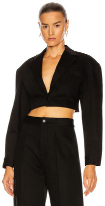 Alexander Wang Denim Cropped Blazer in Black | FWRD