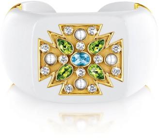 Verdura Cocholong Peridot and Pearl Bracelet