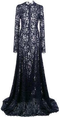 Oscar de la Renta Flared-Skirt Lace Gown