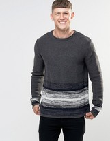 Bellfield Striped Bottom Wide Round Neck Knitted Sweater