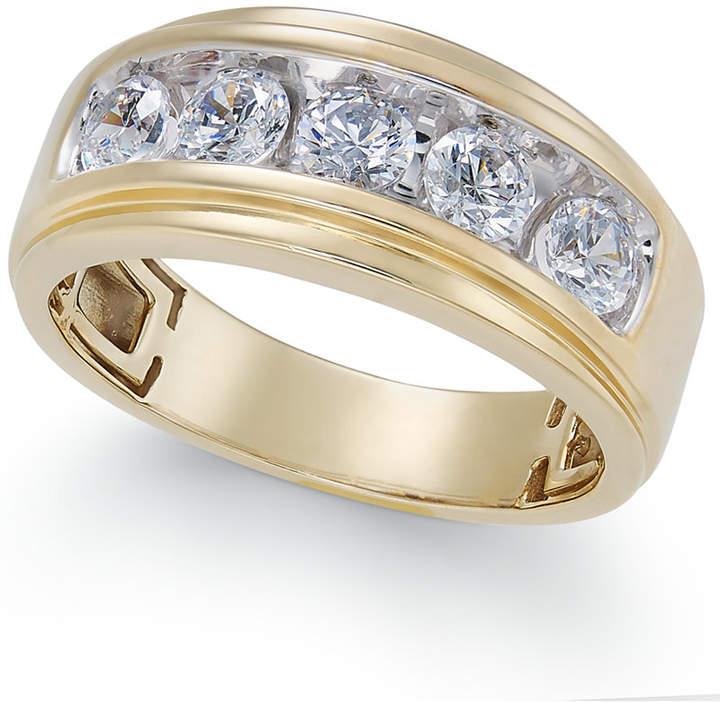 Macy's Men's Diamond Five-Stone Ring (1-1/2 ct. t.w.) in 10k Gold