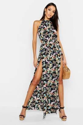 boohoo Tall Backless Tropical Print Maxi Dress