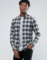 Pull&bear Checked Shirt In Grey In Regular Fit