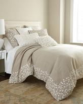 """Callisto Home Natural Pillow w/ Allover Ivory Magnolia Design, 22""""Sq."""