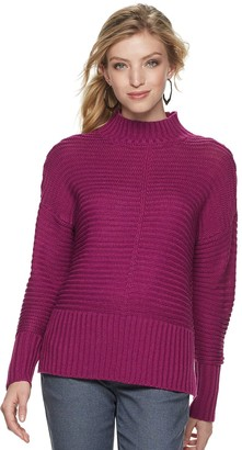 Apt. 9 Petite Mockneck Ribbed Sweater