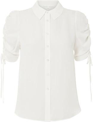 Veronica Beard Carmine Silk Ruched Sleeve Blouse
