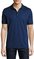 Salvatore Ferragamo Cotton Piqué 3-Button Polo Shirt with Gancini Detail on Collar, Ultra Blue
