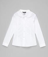 E-Land Kids Ivory Ruffle Collar Top - Toddler & Girls