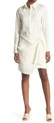Proenza Schouler Long Sleeve Linen Blend Wrap Shirt Dress