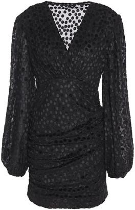 Maje Ruched Metallic Fil Coupe Jersey Mini Dress