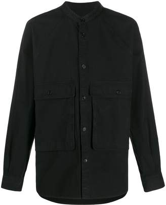 YMC mandarin collar double pocket shirt