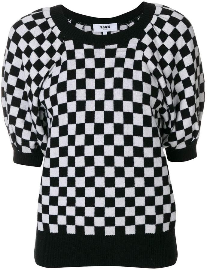 MSGM checkered knit sweater