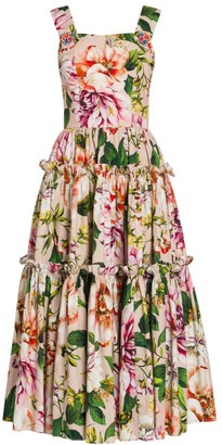Dolce & Gabbana Poplin Floral-Print Tiered Midi Dress