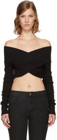 Opening Ceremony Black Cropped Off-the-Shoulder Sweater