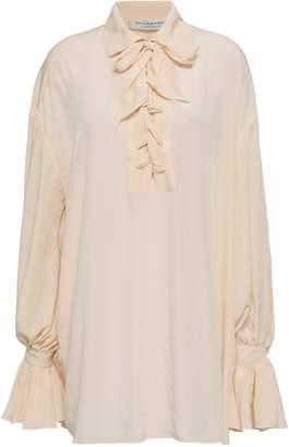 Philosophy di Lorenzo Serafini Lace-up Ruffled Crepe De Chine Mini Shirt Dress
