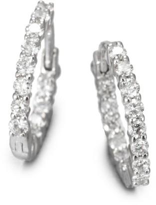 "Roberto Coin 0.76 TCW Diamond & 18K White Gold Hoop Earrings/0.5"""