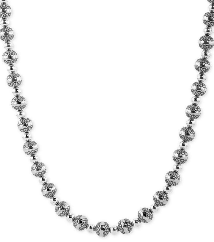 """American West Decorative Bead 21"""" Statement Necklace in Sterling Silver"""