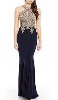 Xscape Evenings Gold Applique Halter Gown