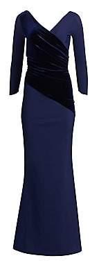 Chiara Boni Women's Erendira Velvet MM Long Sleeve Gown