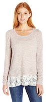 My Michelle Juniors Marled Long Sleeve Scoop Neck Sweater with Lace Bottom