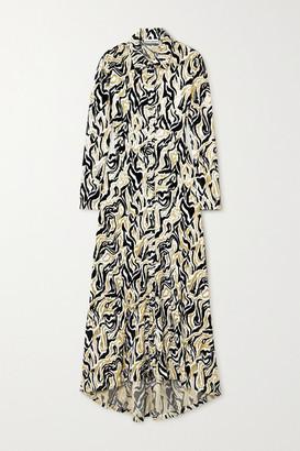 Paco Rabanne Asymmetric Metallic Velvet-jacquard Shirt Dress - Off-white