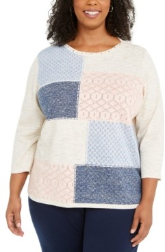 Alfred Dunner Plus Size Pearls of Wisdom Colorblocked Sweater